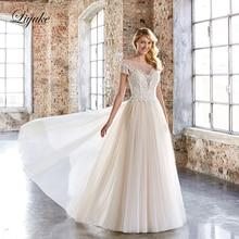 Liyuke Elegant Natural Waistline Puffy Tulle A-Line Wedding Dresses Short Sleeve Princess vestido de novia