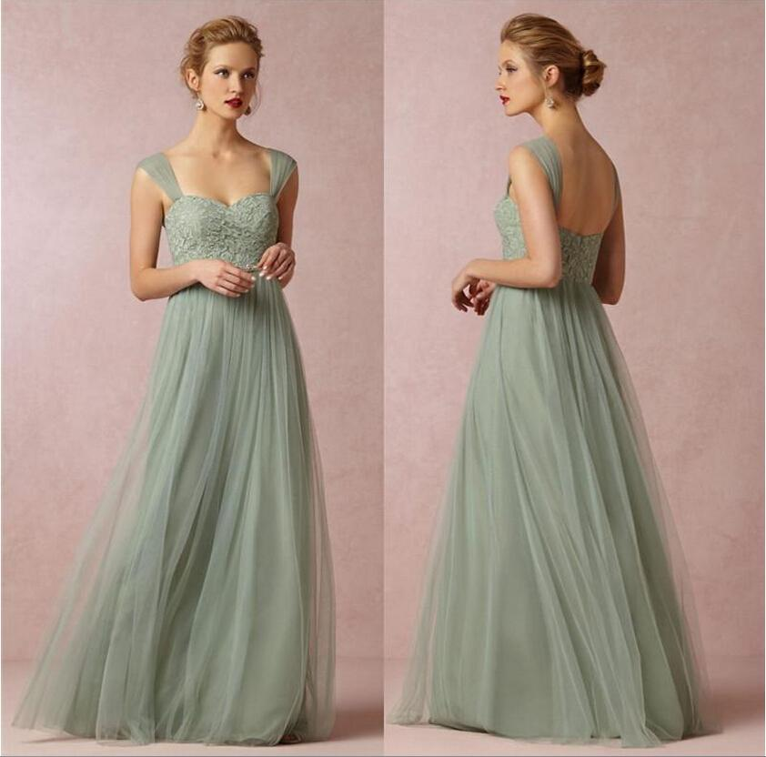 Sage Green Long Bridesmaid Dresses A line Cap Sleeves Tulle with Lace Floor  Length vestido de madrinha de casamento longo-in Bridesmaid Dresses from ... 8673c0254f4c