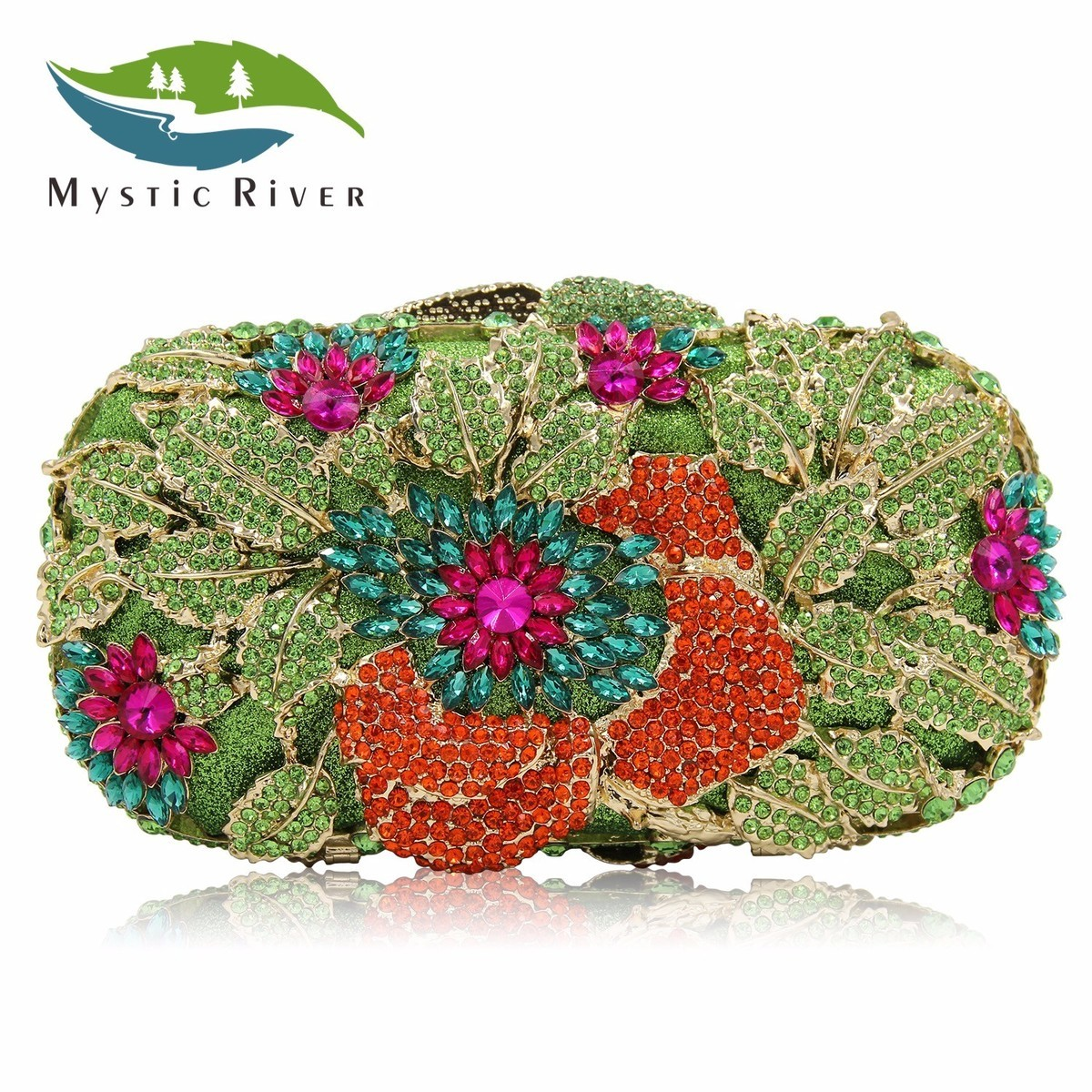 Mystic River Green Flower Women Evening Bags Top Quality Fantasy Party Purse Clutches Wedding Bag With Long Chain mystic river designer pearl bags circle shape beaded clutches women wedding bag with chain lady evening clutch purse