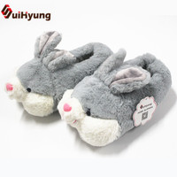 Suihyung New Winter Thermal Women Cotton Shoes Cute Plush Cartoon Bunny Cotton Padded Shoes Home Slippers