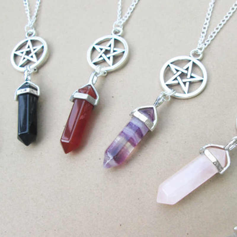 Natural Crystal little fairy Bullet pendentif amethyste Stone Pendant Leather Chains Necklace For Women