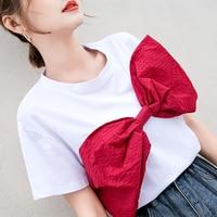 Summer T shirt Women Big Bow Solid Cotton Casual White Harajuku Tops Short Sleeve O Neck Tee Shirt 2019 Tees High Quality