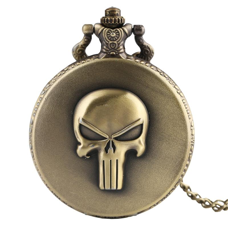 New Arrival Bronze Full Hunter 3D Skull Quartz Fob Pocket Watch With Chain Roman Numerals Design Dial Pendant Gift For Men Women