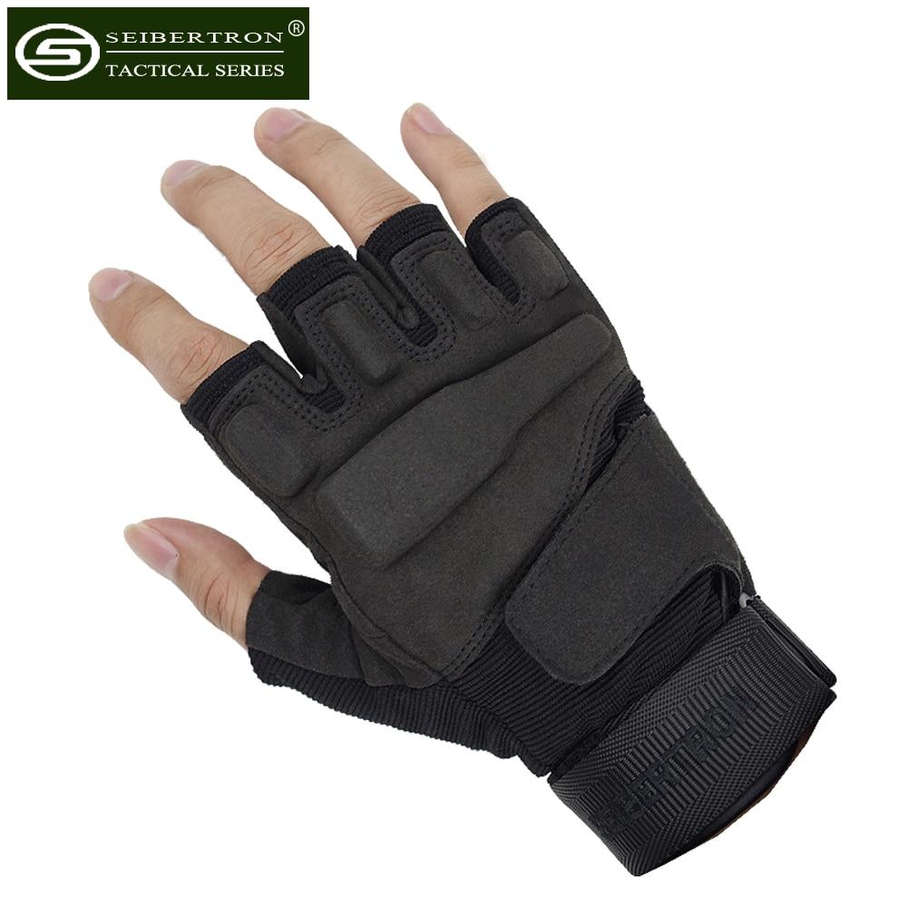 цена Seibertron Men's S.o.l.a.g Special Ops Light Assault Black Hawk Gloves Tactical HellStorm Fingerless Half Finger shooting Gloves