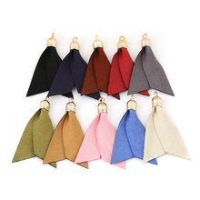 Multiple Color Choice Gold Cap Two Tablets Skirt Shape Tassels Korean Velvet Suede Tassel for DIY Earring Jewelry Craft Making(China)