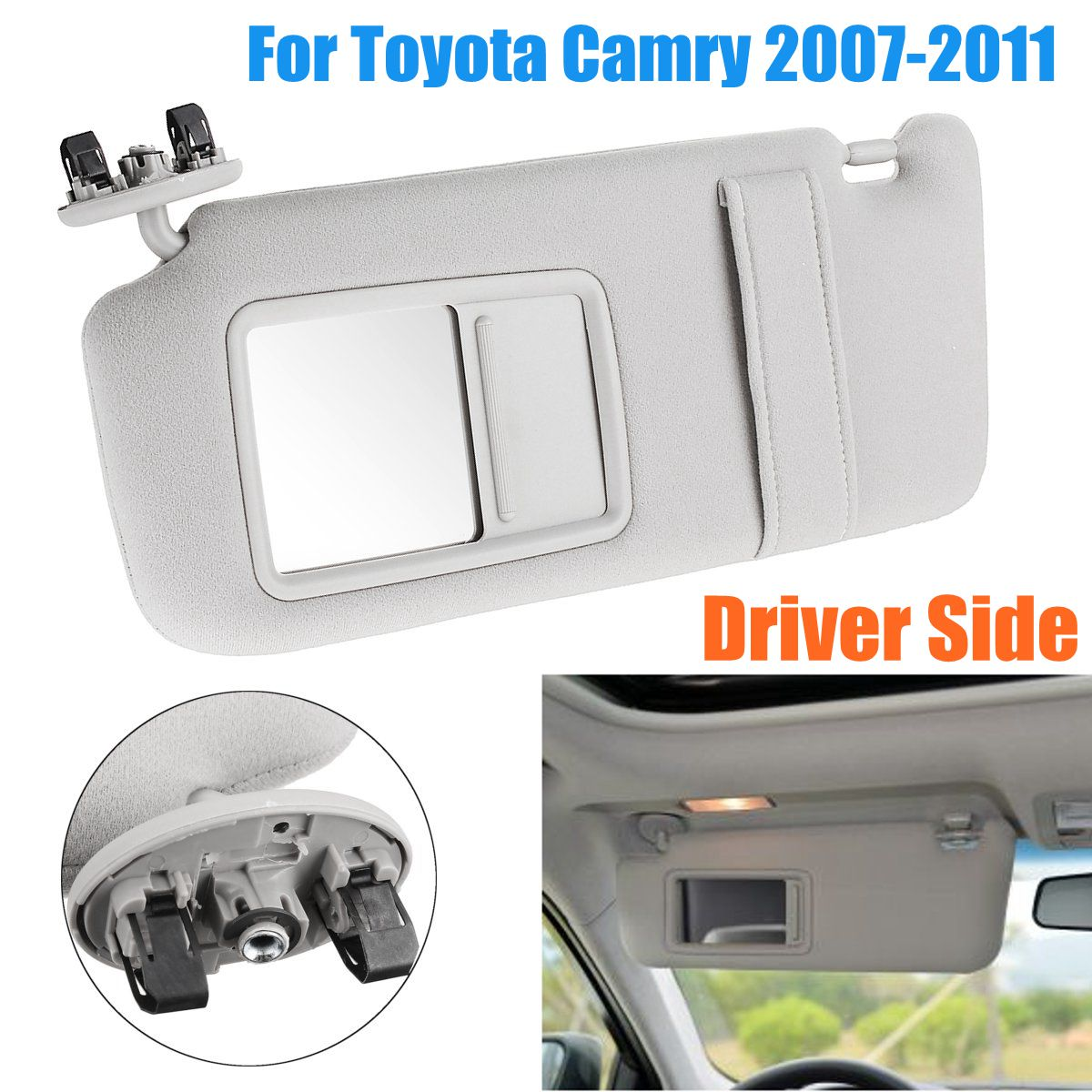Front Left Driver Side Sun Visor Without Sunroof for Toyota Camry 2007 2008 2009 2010 2011Front Left Driver Side Sun Visor Without Sunroof for Toyota Camry 2007 2008 2009 2010 2011