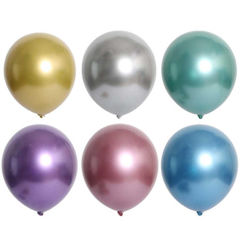 10 pcs 12 polegada Novo Glossy Metal Pérola Balões De Látex de Espessura Chrome Metallic Cores Bolas Globos de Ar Inflável da Festa de Aniversário decoração