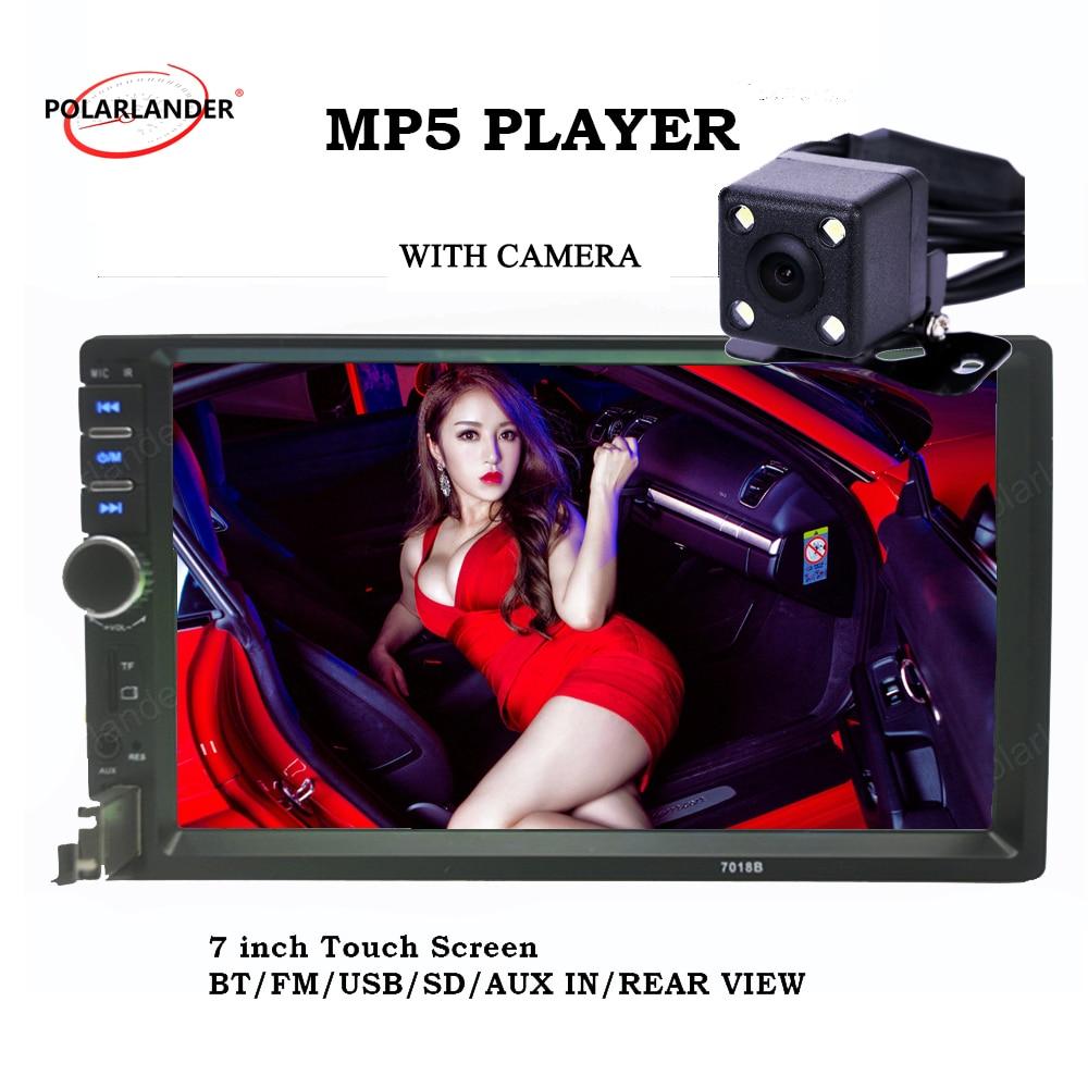 2 din rádio do carro da tela de toque MP5 MP4 player de rádio do carro 7 polegadas Auxina USB TF FM estéreo 5 langauges com bluetooth câmera traseira