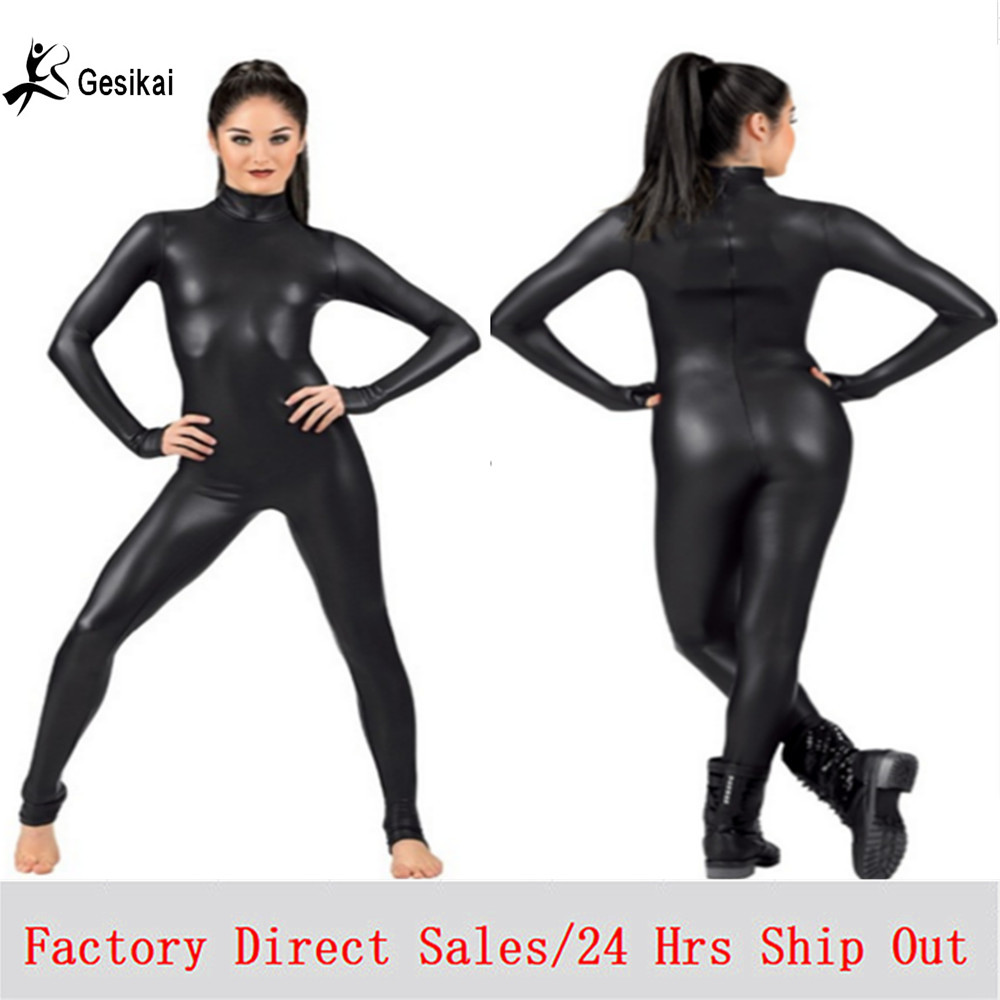 Sexy Women's Costume Lycra Spandex Full Bodysuit Dance Ballet Gymnastics Catsuit Adult Black Long Sleeve Shiny Metallic Unitard