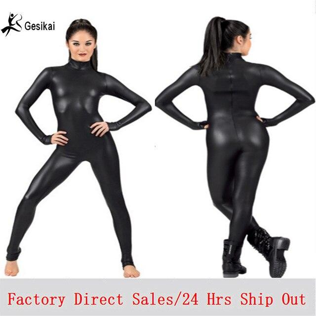 b16efa24dc6 Sexy Women s Costume Lycra Spandex Full Bodysuit Dance Ballet Gymnastics  Catsuit Adult Black Long Sleeve Shiny Metallic Unitard
