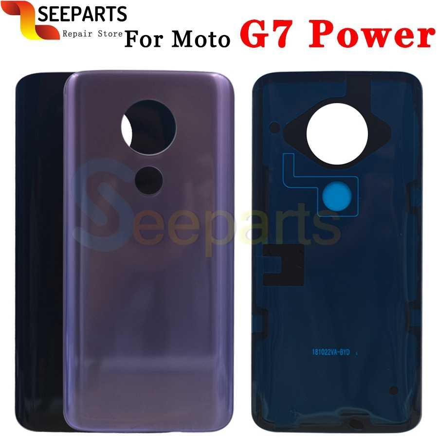 Para moto g7 voltar tampa da bateria painel porta traseira g7 plus habitação g7 jogar caso peça de substituição para motorola g7 energia bateria cobrir