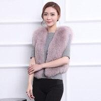 Womens' winter fox vest 2016 lady Fox Fur Vest Coat Winter Women Warm Thick Jacket fashion Short Solid Outwear