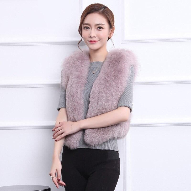 Dámská zimní liška vesta 2016 lady Fox Fur Vest Coat Winter Women Teplá tlustá bunda módní krátké solidní oblečení