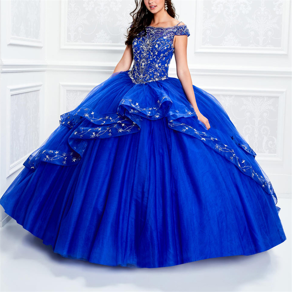 Excellent pars quinceañeras vertidos de 15 anos Blue Off The Shoulder Embroidery Ruffles Emboidery quinceanera dressesQuinceanera Dresses   -