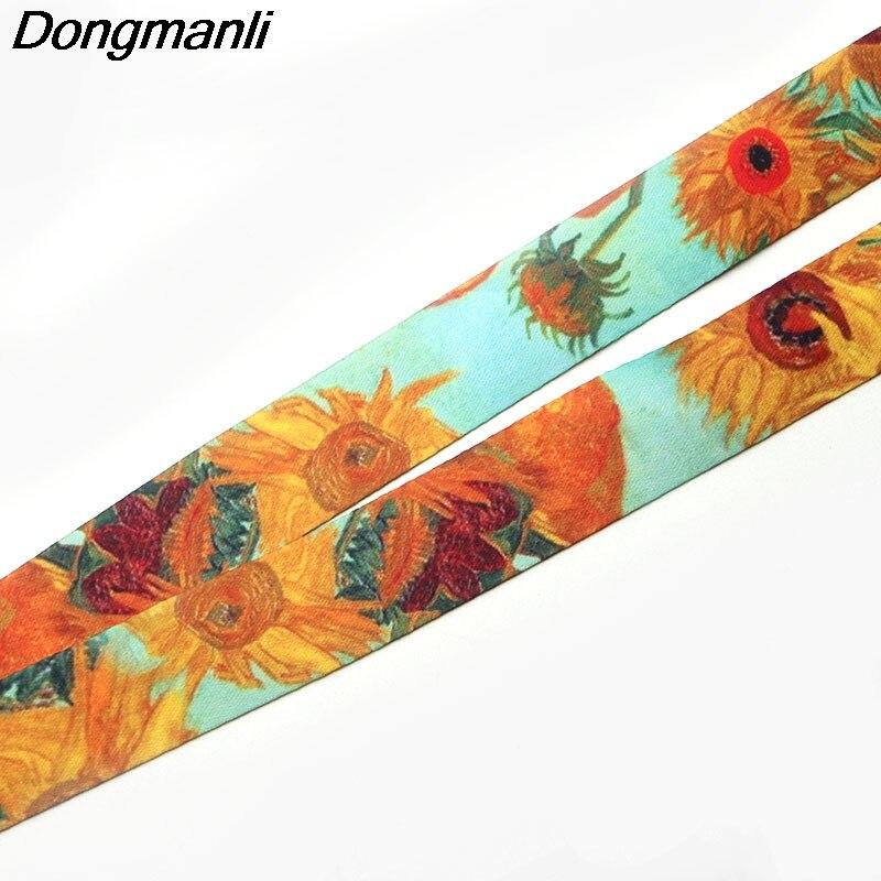 P1906 Dongmanli Wholesale 24pcs/lot 1pcs Van Gogh Painting Art Lanyard Neck Key Strap For Phone Keys ID Card Cartoon Lanyards