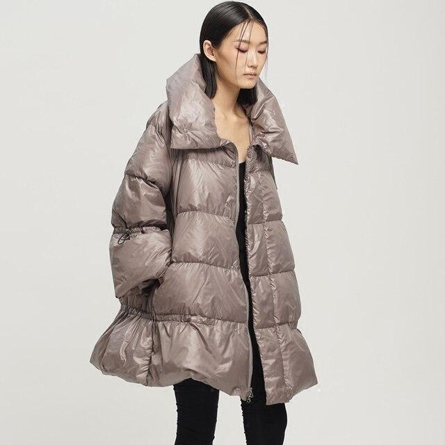 ЛИНЕТТ CHINOISERIE Оригинальный дизайн женская 90 белая утка вниз стиль-образного типа стенд воротник средней длины вниз пальто