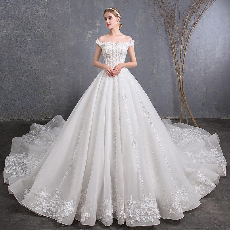 Vintage Wedding Dress 2019 Appliques Flower Bride Dress
