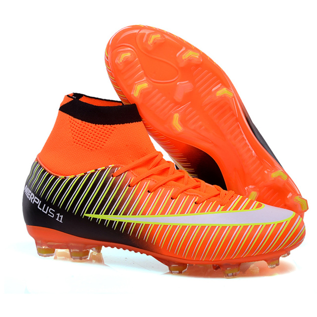 1b1df021f95 High Ankle Mens Kids Football Boots FG Superfly V 5 Cr7 Cleats Indoor Soccer  Shoes TF Turf Futsal Chuteiras Futebol Profissional