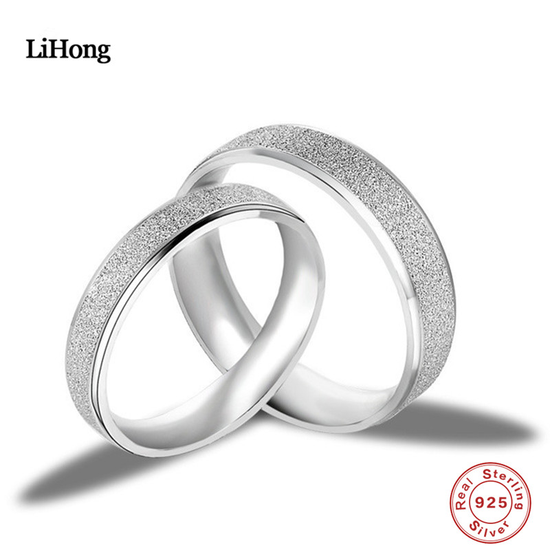 Fine Jewelry 925 Sterling Silver Ring Couple Wedding Ring Matte Simple Ring