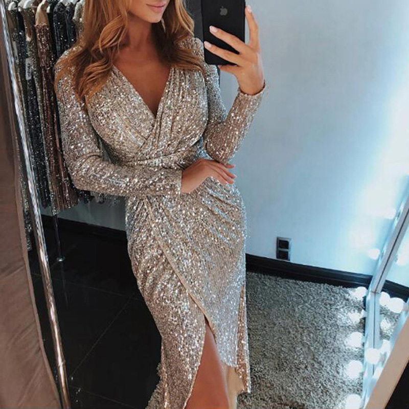 Women's Clothing 8 Colors Plus Siz 3xl Sexy Sequin Bodycon Party Dress Women Glitter Dress V-neck High Slit Long Sleeve Midi Tunic Dress Vestidos