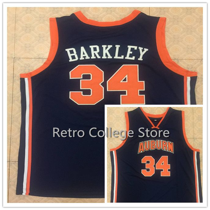 1fec46cdacf ... Mens Shirt High 34 CHARLES BARKLEY Auburn University Retro throwback  College Basketball Jerseys Embroidery Stitched Any Name And Number ...