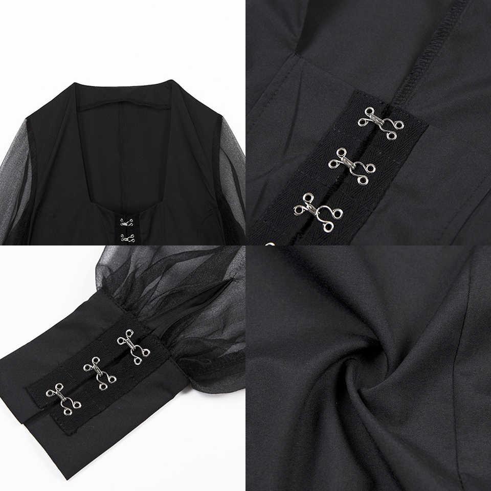 JillPeri Для женщин кроп-топ с длинными рукавами пикантные с низким вырезом квадратный воротник и пуговицы короткая блузка Ежедневно Solid черный наряд Рубашки Модные топы
