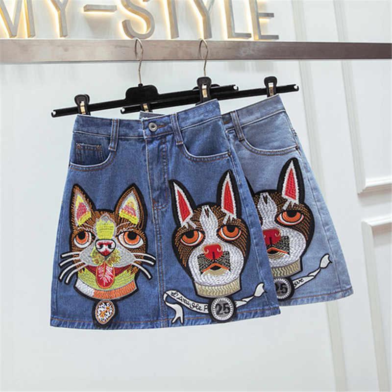 Новинка 2018, женская джинсовая юбка с вышивкой головы собаки, трапециевидная джинсовая юбка с высокой талией, женская летняя мини юбка больших размеров Faldas