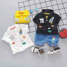 New Kids Suit Summer Casual Boys and Girls Childrens Short Sleeve Lapel Digital Rocket Shorts