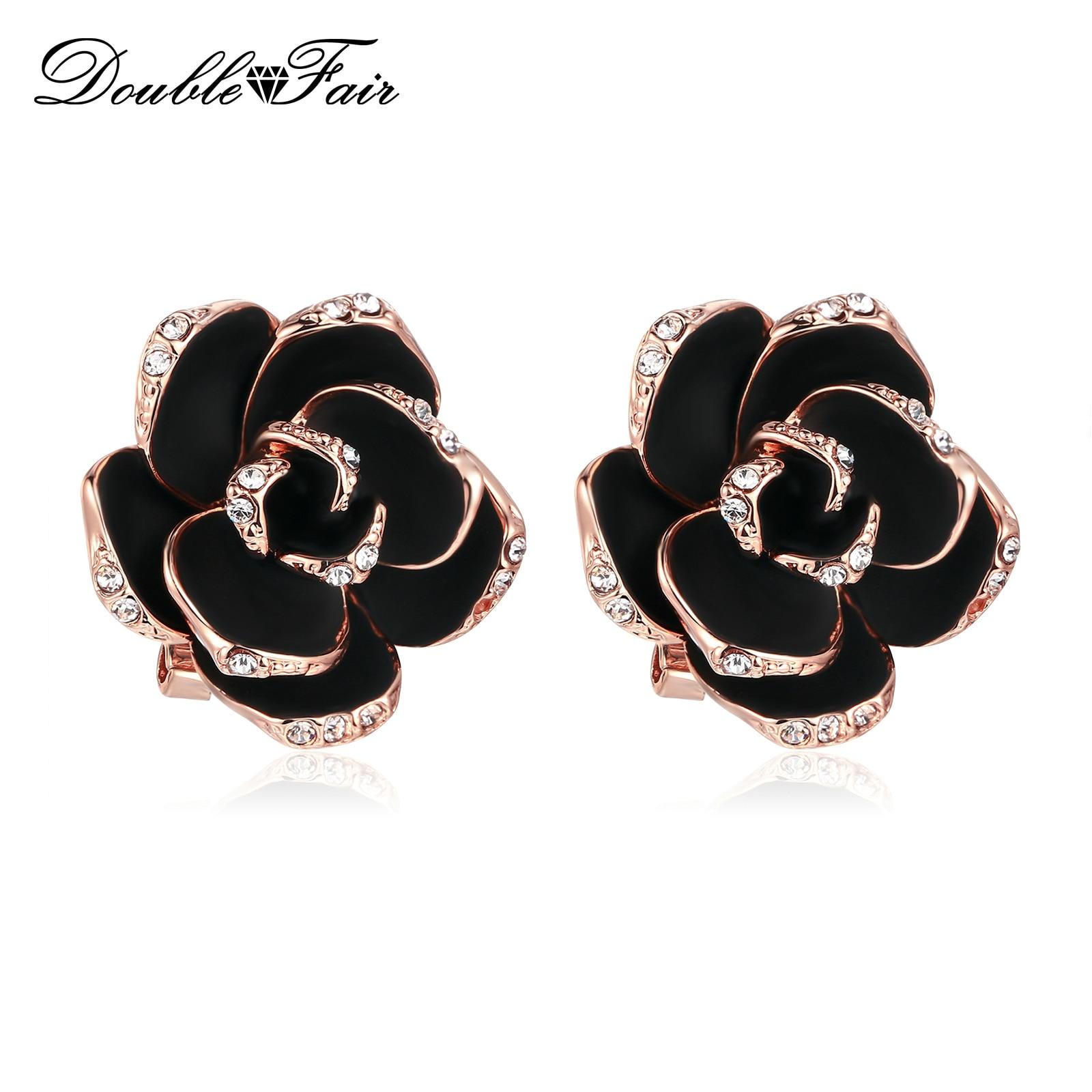 Double Fair Mosaic Black Rose Flower Crystal Stud Earrings Rose Gold
