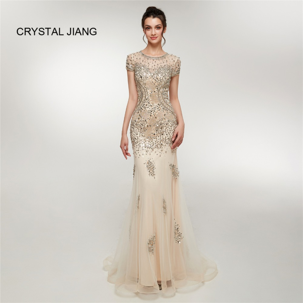 CRYSTAL JIANG New fashion Cap Sleeves Heavy Major Beaded Formal Dress Champagne Mermaid Evening Dresses Long