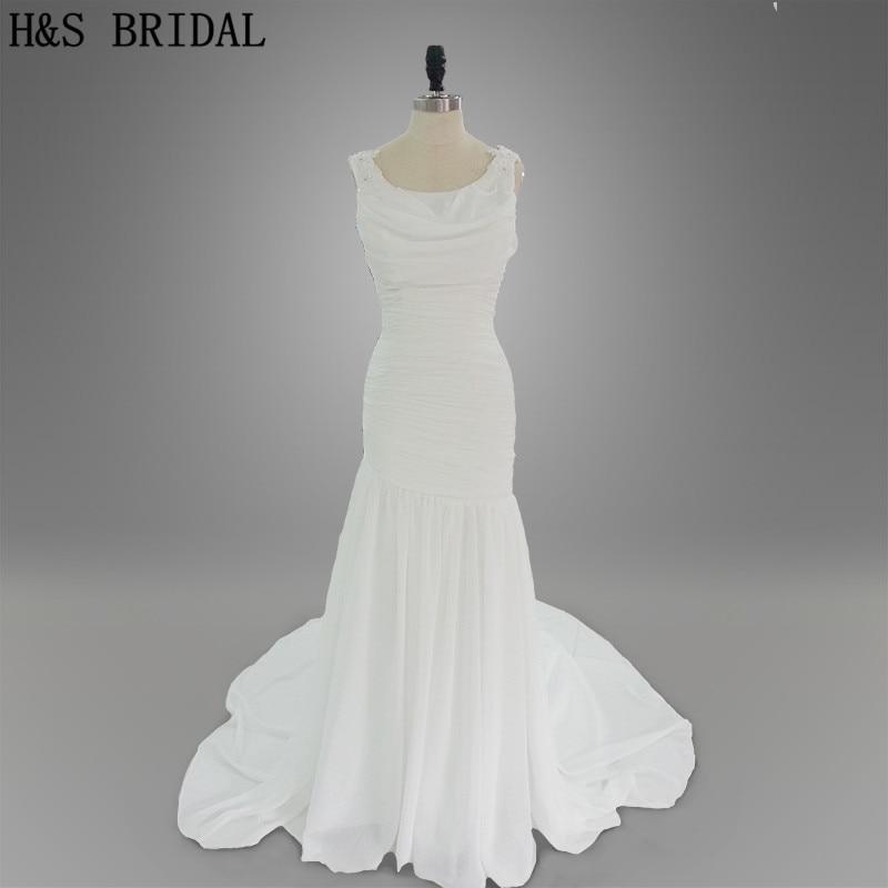 Реальная модель картина летний пляж плиссе шифоновое платье невесты белый русалка аппликации свадебные платья 2015