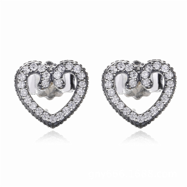 6ca7b9583 925 Sterling Silver Original Heart Swirls Pandora Stud Earrings With Clear  CZ For Women Wedding Party Gift Fine Europe Jewelry