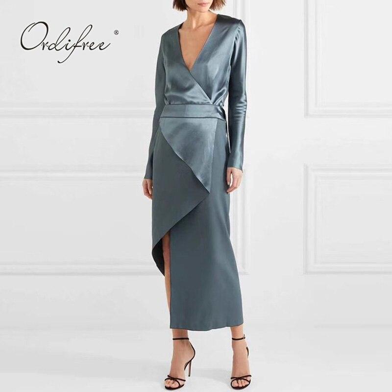 Ordifree 2019 été automne femmes longue robe de soirée Vintage asymétrique col en V bleu Satin soie Maxi robe