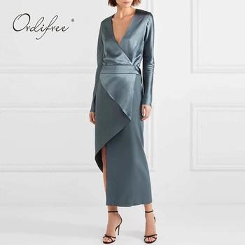 57f4db4c57698 Ordifree 2019 Summer Autumn Women Long Party Dress Vintage Asymmetrical V  Neck Blue Satin Silk Maxi Dress