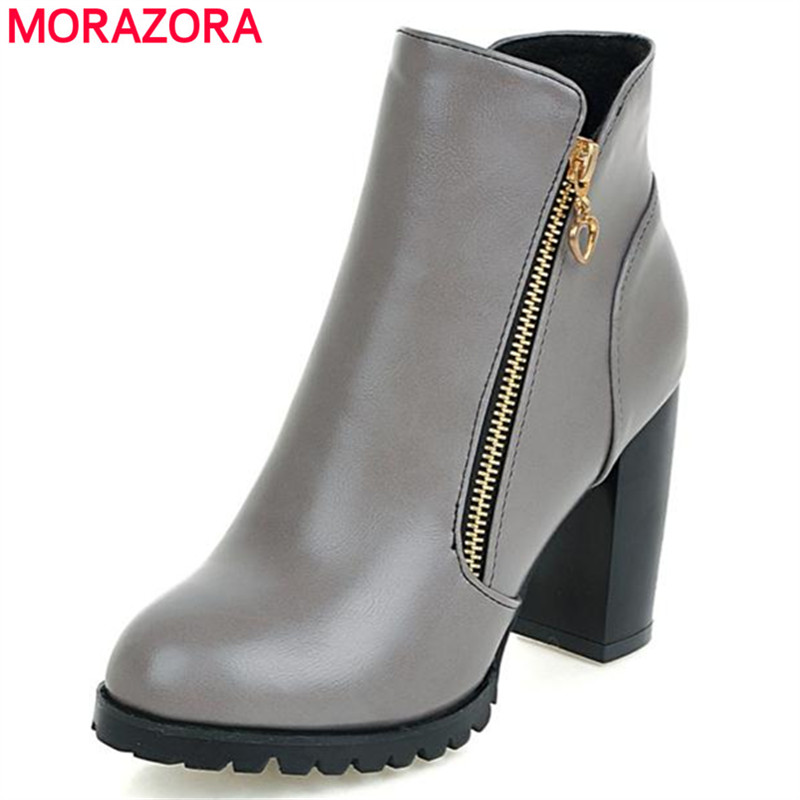 MORAZORA Platform shoes women boots 2018 hot sale ankle boots in autumn zipper solid large size 34-45 party shoes fashion boots morazora ankle boots for women fashion shoes woman cow suede leather boots solid zipper platform womens boots size 34 40