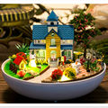 "Fashion Miniature Wooden Doll Houses Furniture DIY Dollhouse Kits Assembling Toy,""Romantic Garden"" Plastic Ball Doll House"