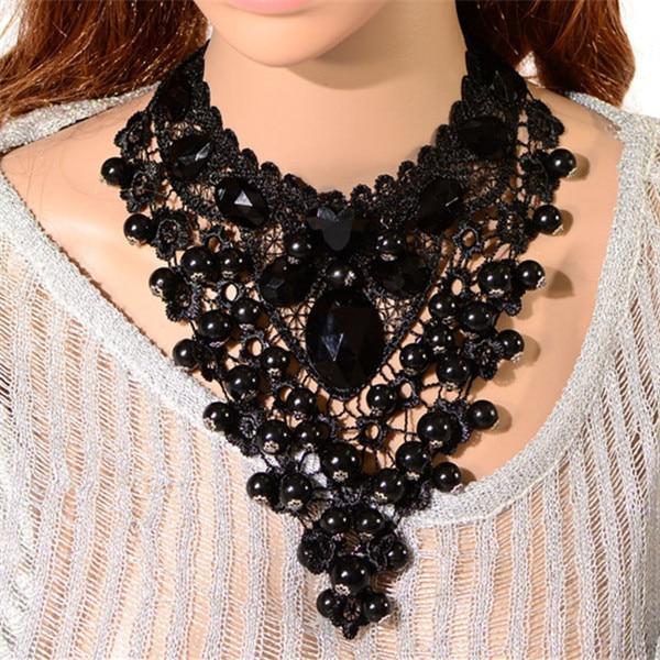 b744770a1f0b Lujo Gothic Lolita Negro Encaje Victoriano Acrílico Punk Grande de La  Vendimia Collares Del Collar de