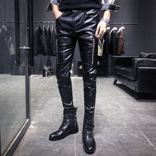 New Arrival Motorcycle Biker Skinny Pant Men Gothic Punk Fashion PU Leather Pants Hip Hop Zippers Black Leather Trousers Male