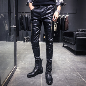 Image 1 - New Arrival Motorcycle Biker Skinny Pant Men Gothic Punk Fashion PU Leather Pants Hip Hop Zippers Black Leather Trousers Male