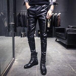Image 1 - Nieuwe Aankomst Motorfiets Biker Skinny Pant Mannen Gothic Punk Fashion Pu Lederen Broek Hip Hop Ritsen Zwart Lederen Broek Mannelijke