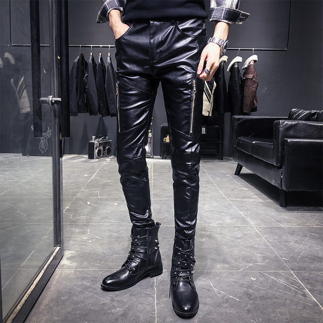 Nieuwe Aankomst Motorfiets Biker Skinny Pant Mannen Gothic Punk Fashion Pu Lederen Broek Hip Hop Ritsen Zwart Lederen Broek Mannelijke