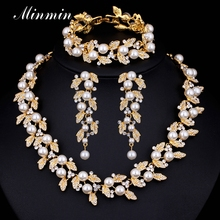 Minmin Synthetic Pearl Leaves Bridal Jewelry Set