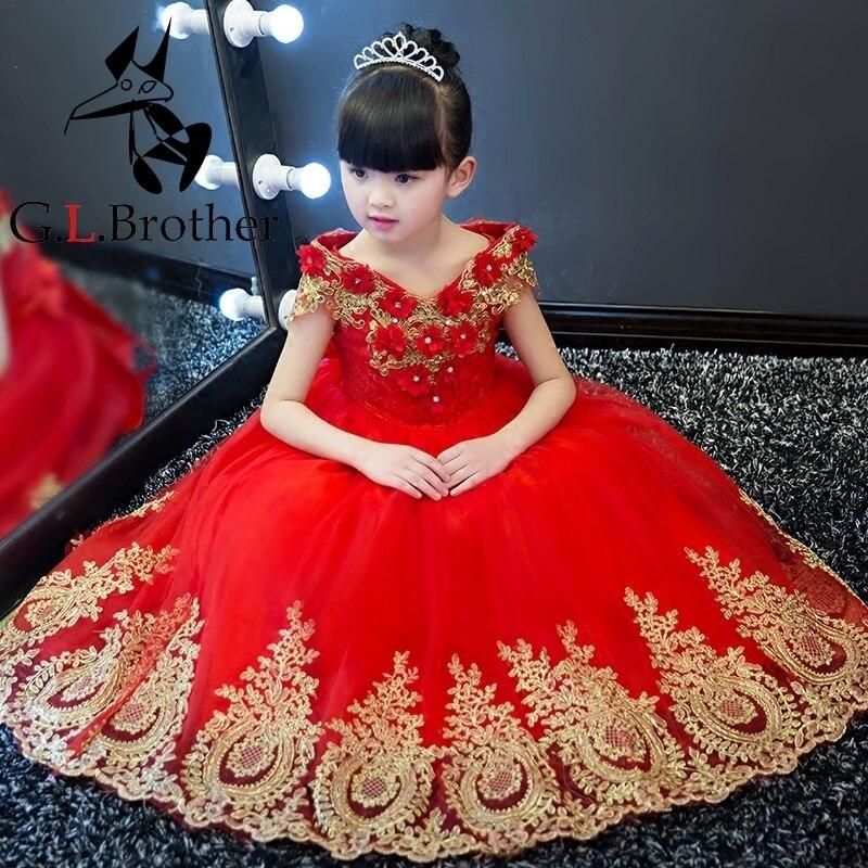 Sequined Appliques Flower Girl Dresses Wedding Ball Gown V-neck Long Kids Dress Evening Floral Tutu Princess Dress For Birthday стоимость