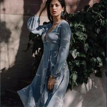 ФОТО 100% silk painted floral print wrap midi dress blue long sleeve dark v neckline sexy dresses women holiday summer