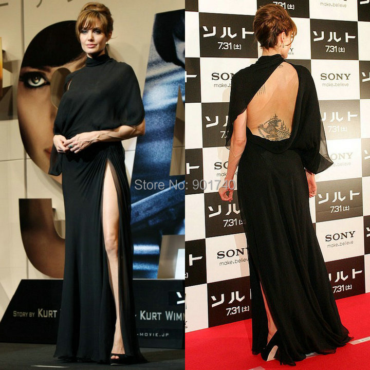 Angelina Gown: Angelina Jolie Red Carpet Dress Vintage Gown Sexy High