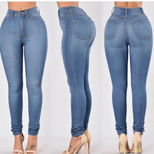New Fashion Plus Size Women Fit Blue Solid High Waist Strech Denim Jeans Woman Girls Casual Slim Mujer Jean Female Pencil Pants