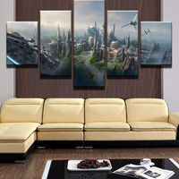 Large Framed Artistic Originality Indoor Art Star Wars City Falcon Tie Fighter Indoor Decor Print Canvas