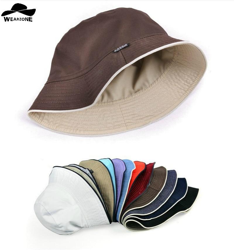 383e05203f3 2017 plain Solid bucket hats men reversible two sides can wear 100% cotton sun  bob cap comfortable fisherman hat