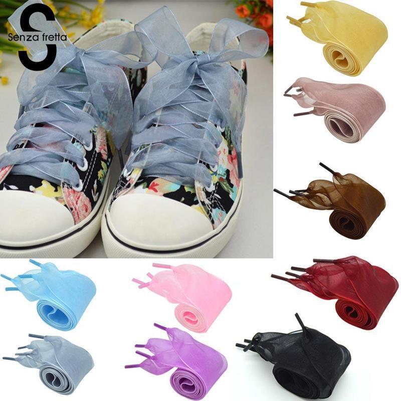 Senza Fretta 120CM Satin Silk Ribbon Shoelaces for Sneakers Women 4cm Width Flat Shoes Lace Fashion Colorful Long Shoestrings цена и фото