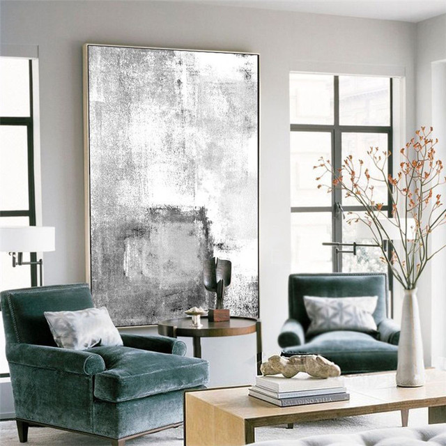 38298bf6f3803 HAOCHU Minimalistischen Bild Kreative Vorstellen Schwarz Weiß Leinwand  Malerei Abstrakter Druck Hintergrund Wand Kunst Eingang Büro
